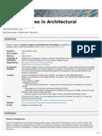 Master's Degree in Architectural Technology (ETSAB, ETSAV)