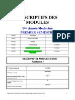 Objectifs 1 Ère Année Médecine