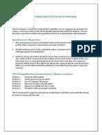 Who Vendor Prequalification Document