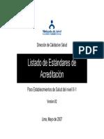 Listado Estandares Acreditacion ES-III-I
