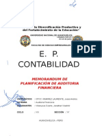 Memorandum de Planeamiento Auditoria Financiera