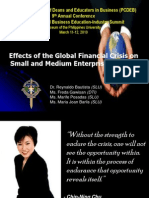 Effects of the Global Financial Crices on Small and Medium Enterprises - Dr. Reynaldo Bautista, FBE