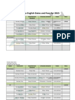 Cambridge English Dates and Fees for 20153