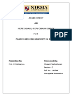 HERFINDAHL-HIRSCHMAN INDEX  FOR  PASSENGER CAR SEGMENT IN INDIA