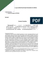 Cerere de Deschidere a Procedurii Insolventei Formulata de Debitor (1)