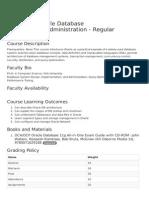Oracle Database Management-Administration - Syllabus