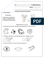 Prova III Bimestre 1º Ano - Português