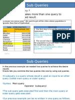 Sub Queries -oracle
