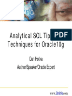 Presentation - Analytical SQL Tips and Techniques for Oracle10g