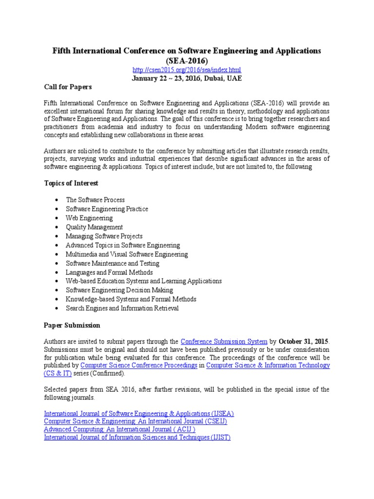 Fifth International Conference on Software Engineering and