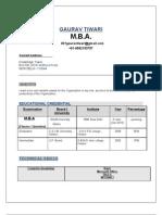 M.B.A.Resume