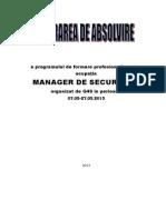Lucrare Manager de Securitate