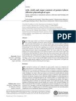 Crecimiento, rendimiento y contenido de azúcares a diferente edad fisiológica del tubérculo de papa
