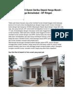 Jual Rumah Di Duren Seribu Depok Harga Murah - Harga Bersahabat - DP Ringan - www.rumahku.com