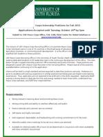 USF Peace Corps Internship Positions (2015-2016)