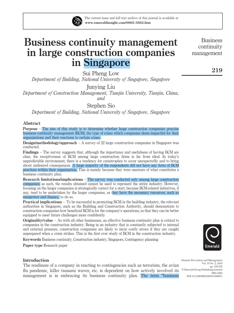 BCM in Construction Companies in Singapore   Risk   Business