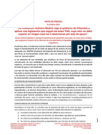 Nota de Prensa Autismo Madrid- Ratio Aulas - 06 Oct