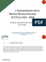 Análisis e Interpretación de La Norma Técnica Peruana N.T.P.111.010 - 2003