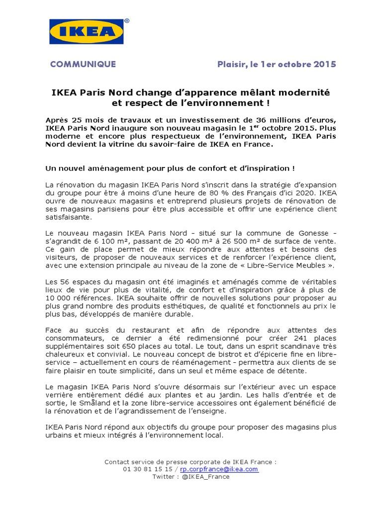 Communique Paris Ikea Ouverture 10 De Re Pdf 01 15 Nord