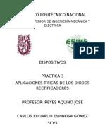 Practica 3 APLICACIONES TÍPICAS DE LOS DIODOS RECTIFICADORES