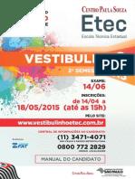 Manual do Candidato Vestibulinho Etec 2°sem 2015