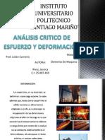 Analisis Critico de Esfuerzo y Deformacion