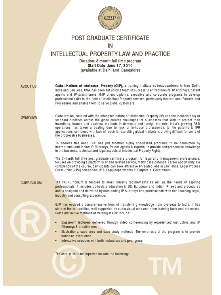 Post graduate certificate in intellectual property law and post graduate certificate in intellectual property law and practice intellectual property patent xflitez Image collections