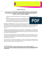 PRESS RELEASE  EUROPEAN PRESENTATION OF IM-DEFENSORAS 2012-2014 REPORT ON VIOLENCE AGAINST WOMEN HUMAN RIGHTS DEFENDERS IN MEXICO AND CENTRAL AMERICA