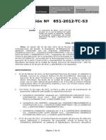 Resolución 0651 2012 TC S3