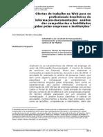 Ofertas de Trabalho Na Web Para Os Profissionais Brasileiros Da Informação-documentação Análise Das Competências e Habilidades Exigidas