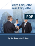 Corporate Etiquette Business Etiquette Professor Ms Rao