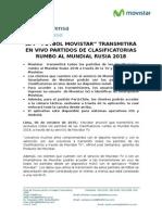 "APP ""FÚTBOL MOVISTAR"" TRANSMITIRÁ EN VIVO PARTIDOS DE CLASIFICATORIAS RUMBO AL MUNDIAL RUSIA 2018"