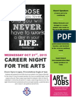 Career Night for the Arts Wednesday Oct 21st