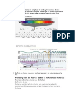 Elaborar Una Tabla de Longitud de Onda y Frecuencia de Las Radiaciones Del Espectro Visible