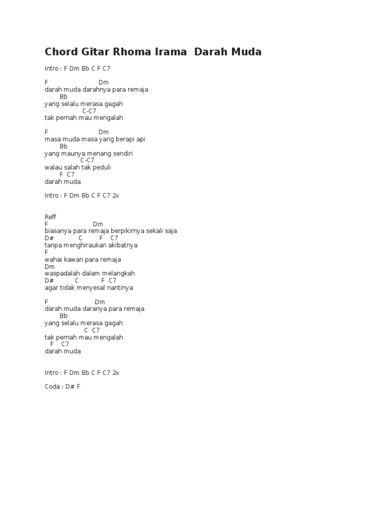 Chord Gitar Rhoma Irama Darah Muda