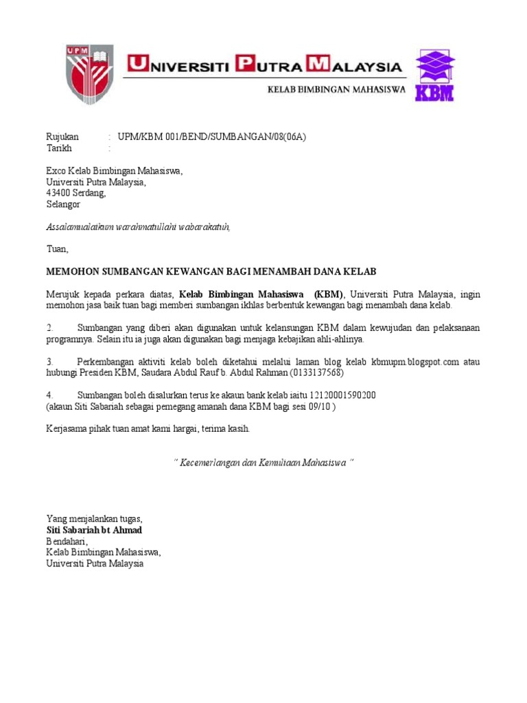 Surat Rasmi Permohonan Gelanggang Futsal - Surat PP