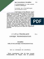 Kant - Critique de la raison pure. à A147-B187  (Oeuvres II, Gallimard, 1985)