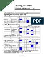 Excavator Maintenance Chart