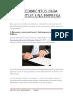 Procedimientos Para Constituir Una Empresa (1)
