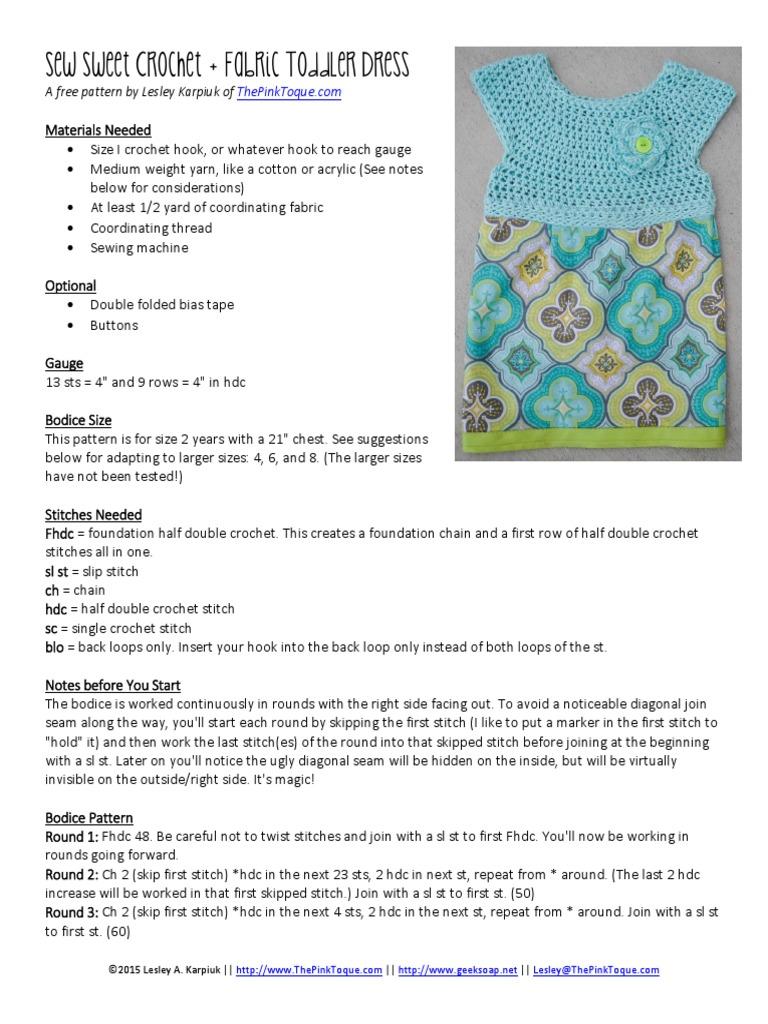 Dress Toddler Seam Sewing Crochet