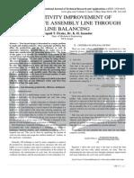 PRODUCTIVITY IMPROVEMENT OF AUTOMOTIVE ASSEMBLY LINE THROUGH LINE BALANCING