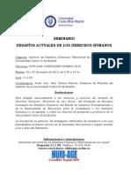 Programa- SEMINARIO DESAFÍOS ACTUALES DE LOS DERECHOS HUMANOS