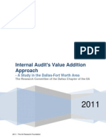 Internal Audit's Value Addition Approach - A Study in the Dallas-Fort Worth Area - Dallas