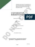 UoB PEAB Sample Exam Paper 2014