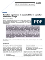 Canadian experiences in sustainability in agriculture and climate change