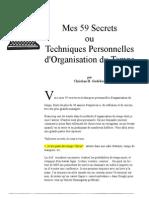 Mes 59 Secrets Ou Techniques Personnel Les d'Organisation Du Temps - Christian H. Godefroy