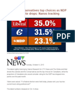 Liberals, Conservatives Top Choices as NDP Accessible Vote Drops Nanos Tracking
