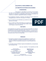Resolución No. 39-99 (Prórroga Cláusulas Salvaguardia)