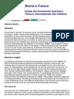 Storia e Futuro, Un'Avventura Editoriale Del Movimento Anarchico Negli Anni Venti- l'Oeuvre Internationale Des Editions Anarchistes,