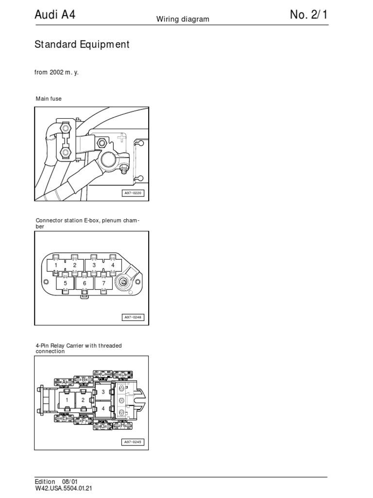 Audi A4 B6 Wiring Diagrams Standard Equipment | Headlamp | Vehicle  Technology | Audi B6 Wiring Diagram |  | Scribd